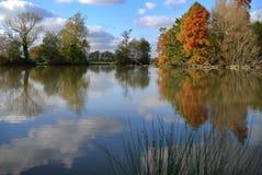 Het meerscène van de herfst Stock Afbeeldingen