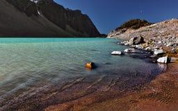 Het meerstrand van de berg Stock Foto