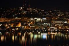 Het Meerunie van Seattle nacht stock foto