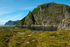 Het meest westelijke het kamperen gebied in Lofoten Stock Afbeeldingen