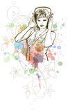 Het meisje & de muziekkleurenmengeling van DJ - bloemenornament Stock Foto's