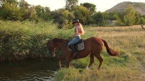 Het meisje baadt met haar paard in het meer in de zomer stock videobeelden