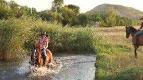 Het meisje baadt met zijn paard in het meer in de zomer stock footage