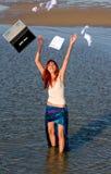 Het meisje beëindigt het werk royalty-vrije stock foto
