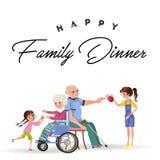 Het meisje behandelt grootmoeder en grootvader vector illustratie