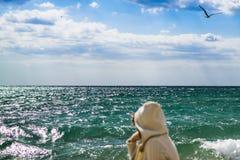 Het meisje bekijkt het overzees Afgelopen vliegende zeemeeuw Stock Foto