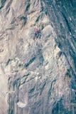 Het meisje beklimt de rots Stock Afbeeldingen