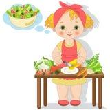 Het meisje bereidt een salade voor Stock Afbeeldingen