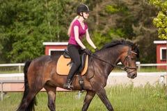 Het meisje berijdt haar poney Stock Foto
