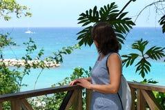 Het meisje in Blauw Royalty-vrije Stock Foto