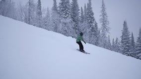 Het meisje daalt van de berg op skis in slowmo stock footage