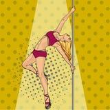 Het meisje danst op retro rooster van het poolpop-art De grappige imitatie van de boekstijl vector illustratie