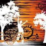 Het meisje dat in bloemen danst Stock Afbeeldingen