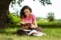 Het meisje dat met boeken op een gras zit Stock Fotografie