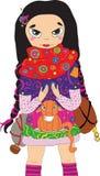 Het meisje dat van Anime met kat reist Royalty-vrije Stock Afbeelding