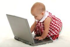 Het Meisje dat van de baby aan Laptop binnen op Witte Deken werkt royalty-vrije stock afbeeldingen