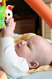 Het meisje dat van de baby haar teddybeer bereikt Stock Fotografie