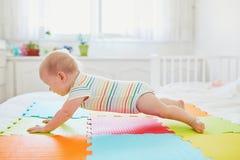 Het meisje dat van de baby leert te kruipen royalty-vrije stock afbeeldingen