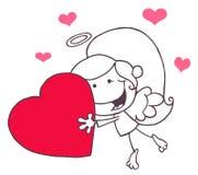 Het Meisje dat van de Cupido van de stok met Hart vliegt Royalty-vrije Stock Afbeelding