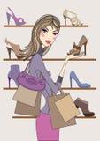 Het meisje dat van de manier in schoenwinkel winkelt, vector Royalty-vrije Stock Foto