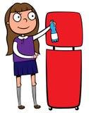 Het meisje dat van de school een plastic fles recycleert Royalty-vrije Illustratie