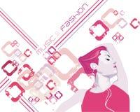 Het meisje dat van de schoonheid & het luisteren muziek danst Stock Foto's