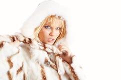 Het meisje dat van de schoonheid de winterlaag draagt Stock Foto