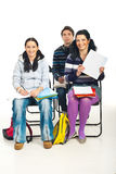 Het meisje dat van de student notitieboekje met A+ toont stock foto