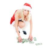 Het meisje dat van Kerstmis dollars verzamelt Royalty-vrije Stock Foto