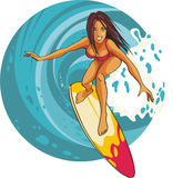 Het meisje dat van Surfer een golf berijdt Royalty-vrije Stock Foto