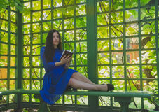Het meisje in de blauwe kledingszitting in de gazebolezing Stock Foto's