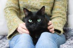 Het meisje in de groene sweater houdt een zwarte kat stock fotografie