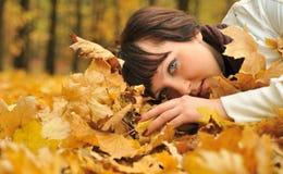 Het meisje in de herfstbladeren Stock Foto's
