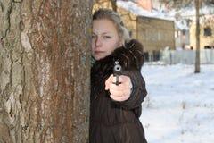 Het meisje de moordenaar royalty-vrije stock foto