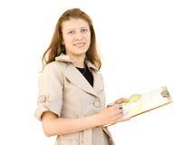 Het meisje de ontwerper van een binnenland royalty-vrije stock afbeelding