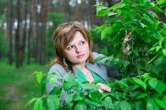 Het meisje in de overlapping van aard Stock Foto