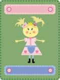 Het meisje de prinses op een groene achtergrond Stock Afbeelding