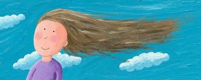 Het meisje in de wind voelt vrij Stock Foto