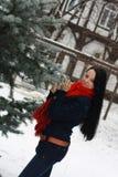 Het meisje in de winter Stock Foto