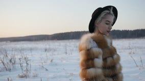 Het meisje in de winter bij zonsondergang stock video