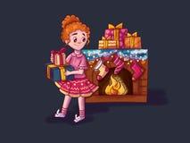 het meisje dichtbij de open haard die op Kerstman wachten stock illustratie