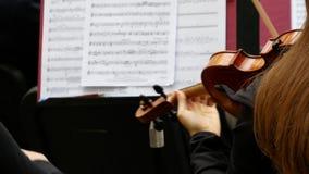 Het meisje die de viool spelen stock videobeelden