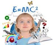 Het Meisje die van de School van het onderwijs op Wit leren Stock Foto