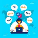 Het meisje die van de taalvertaler sociale media app gebruiken stock illustratie