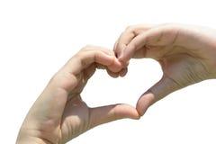 Het meisje dient de liefde van de hartvorm op wit in Stock Fotografie