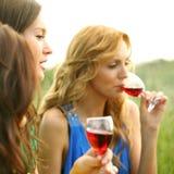 Het meisje drinkt wijn Stock Afbeelding