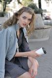 Het meisje dronk reeds koffie royalty-vrije stock foto's