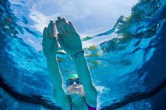 Het meisje duikt Pool Onderwater Stock Afbeeldingen