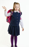 Het meisje in een eenvormige school stock foto's