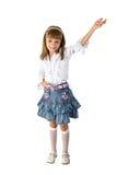 Het meisje in een jeansrok royalty-vrije stock foto